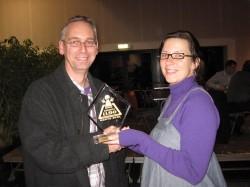 Jonny de Vries (QWG) en Marjoleine van Hamand (ontwerpster)