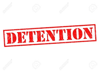 DETENTION red Rubber Stamp over a white background.